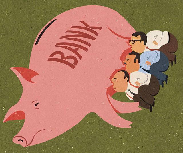 現代の風刺画:銀行によって飼い慣らされている経営者・労働者たち