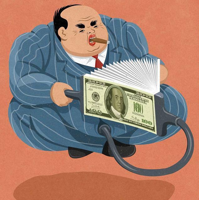 現代の風刺画:お金だけ有って中身が無く、軽い男性
