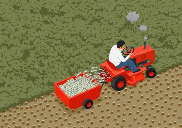 現代の風刺画:伐採してお金を作り出す後進国の人々