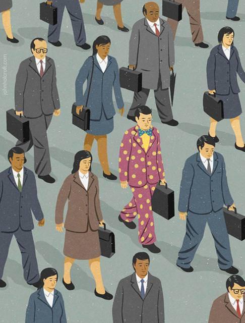 現代の風刺画:笑顔のない無表情のサラリーマンたち
