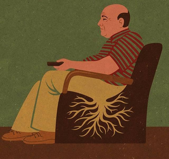 現代の風刺画:座りっぱなしで根っこが生えてしまった中年男性