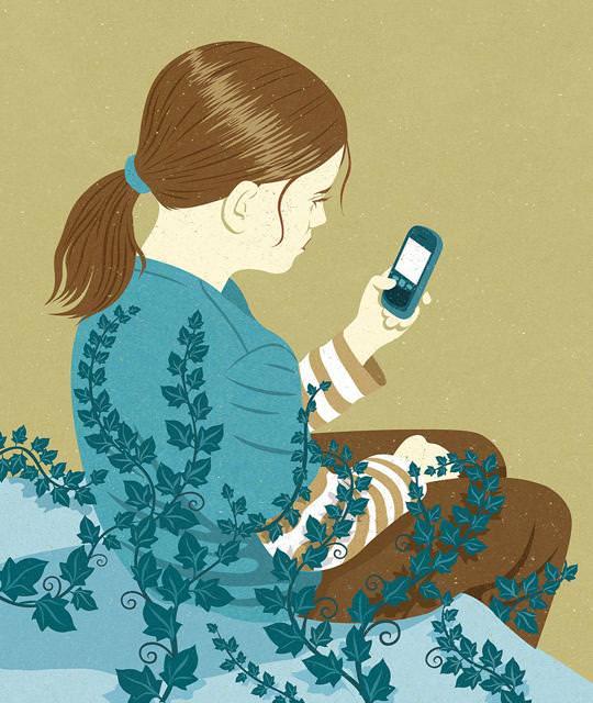 現代の風刺画:スマホ依存症が深刻な少女