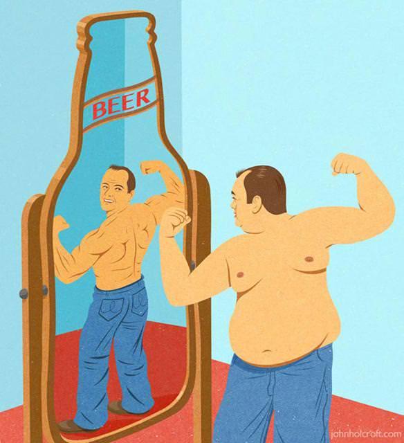 現代の風刺画:ビール腹でだらしない身体の中年男性
