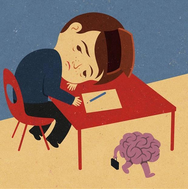 現代の風刺画:意識は遠い彼方へ行ってしまった男性