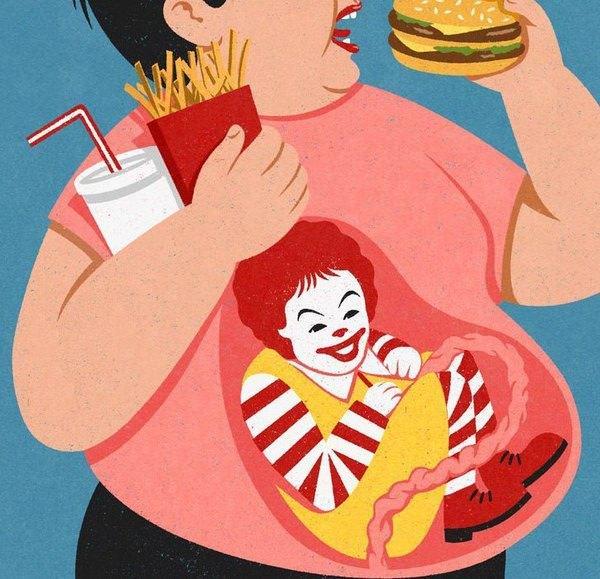 現代の風刺画:ファーストフードで育つ赤ちゃん(胎児)