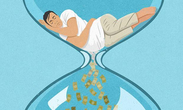 現代の風刺画:お金のために寿命を削る人々
