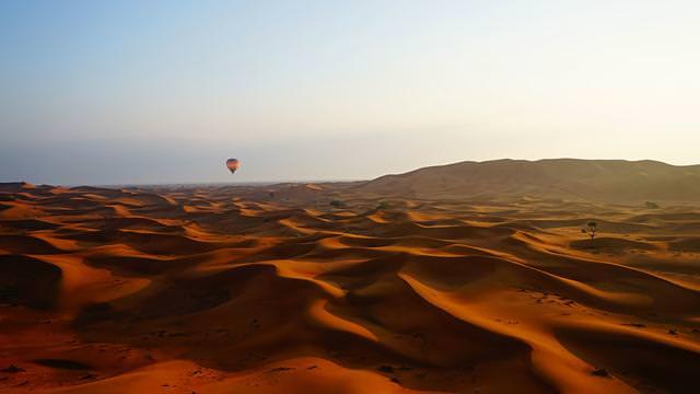 夜明けの砂漠で飛び立つ気球