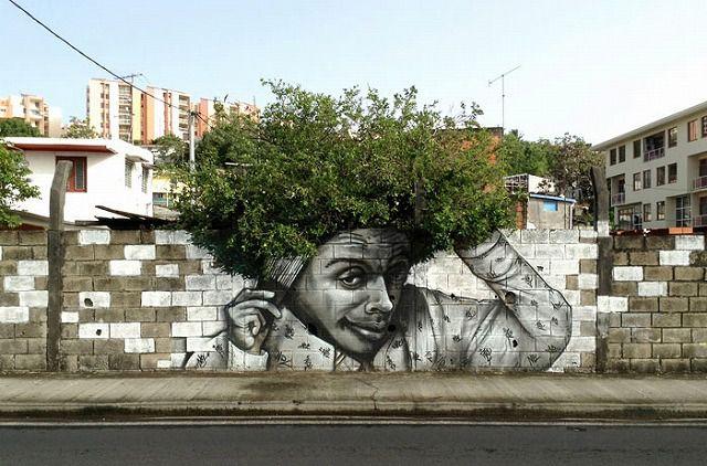 上手いストリートアート:モシャモシャのヘアスタイル