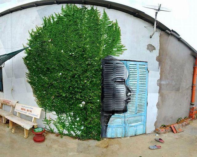 上手いストリートアート:オールバック一歩手前の髪型