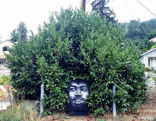上手いストリートアート:生えすぎたアフロヘア