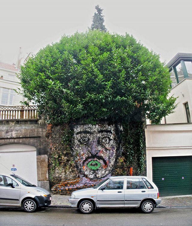 上手いストリートアート:綺麗に整えられたアフロヘア