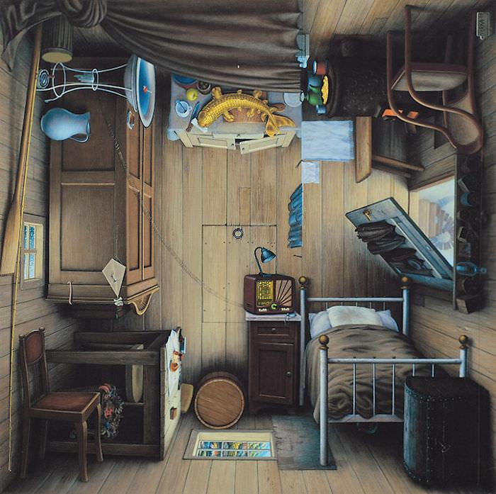 潜水艇の室内を描いた、回転トリックアート