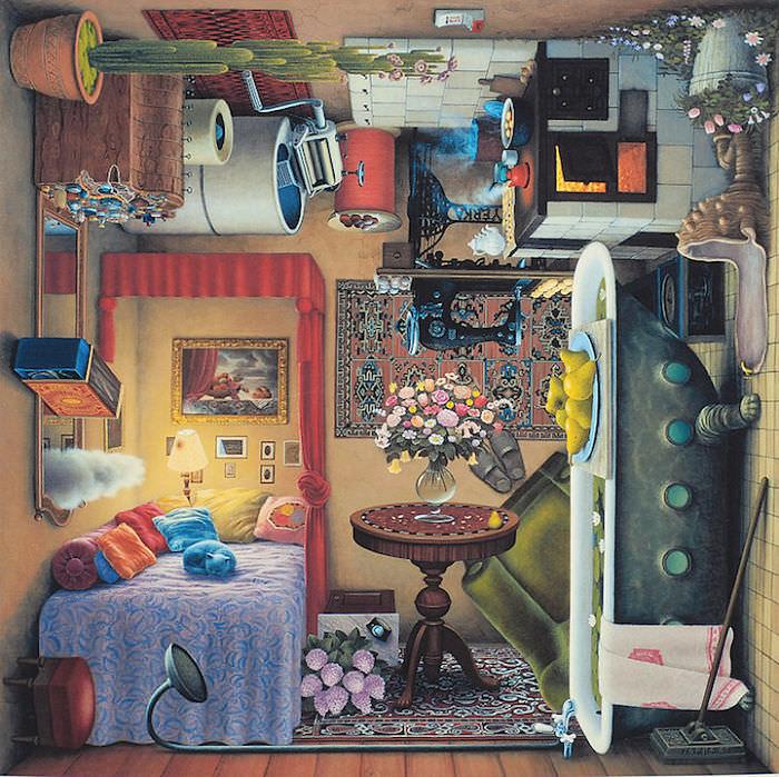 女の子の部屋を描いた、回転トリックアート