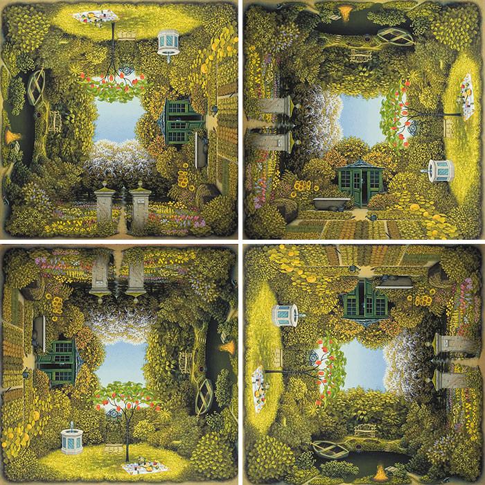 緑豊かな庭園を描いた、回転トリックアート
