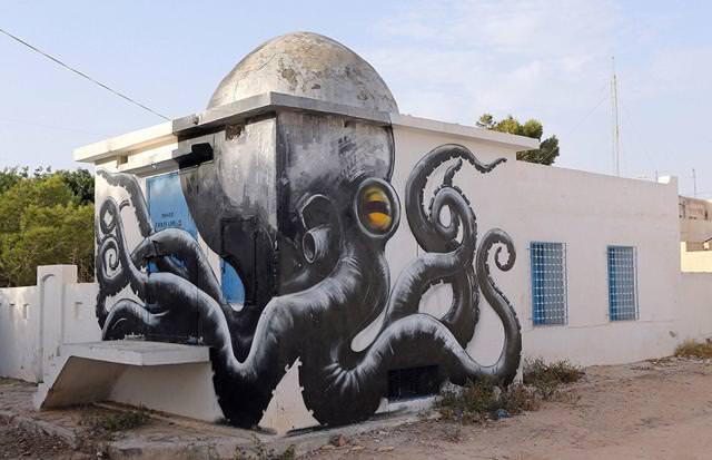 ベルギー人の描いたストリートアート:大ダコ