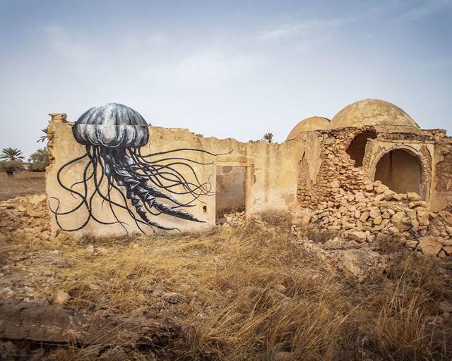 ベルギー人の描いたストリートアート:おばけクラゲ