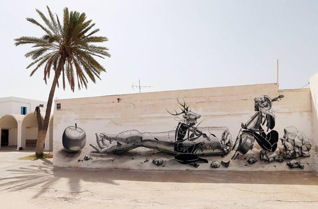 ドイツ人の描いたストリートアート:壊れた腕と音楽家