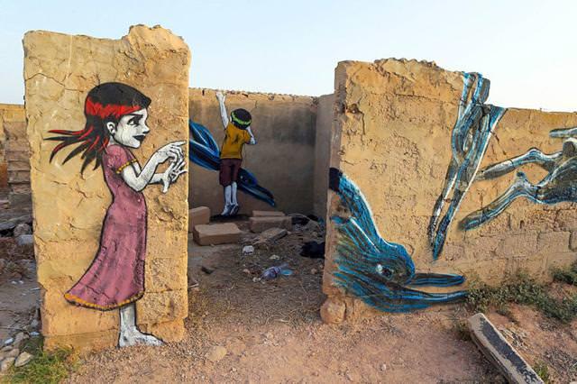 ポルトガル人の描いたストリートアート:少年少女と動物