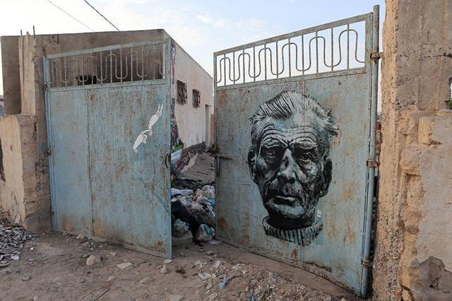 アメリカ人とイタリア人が合作で描いたストリートアート:老人の顔