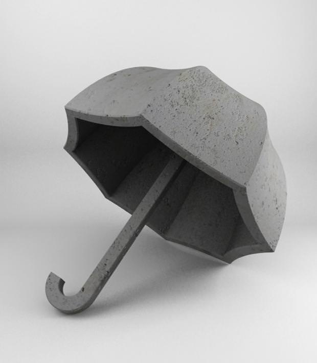 不便なデザイン:石で作られた重たすぎるカサ