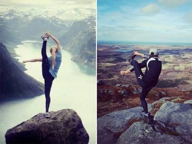 残念な画像:岩の上で颯爽とポーズを決めるはずが・・・