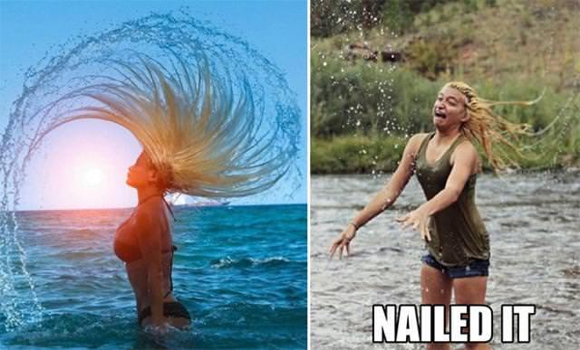 残念な画像:髪で美しい水しぶきを上げるはずが・・・