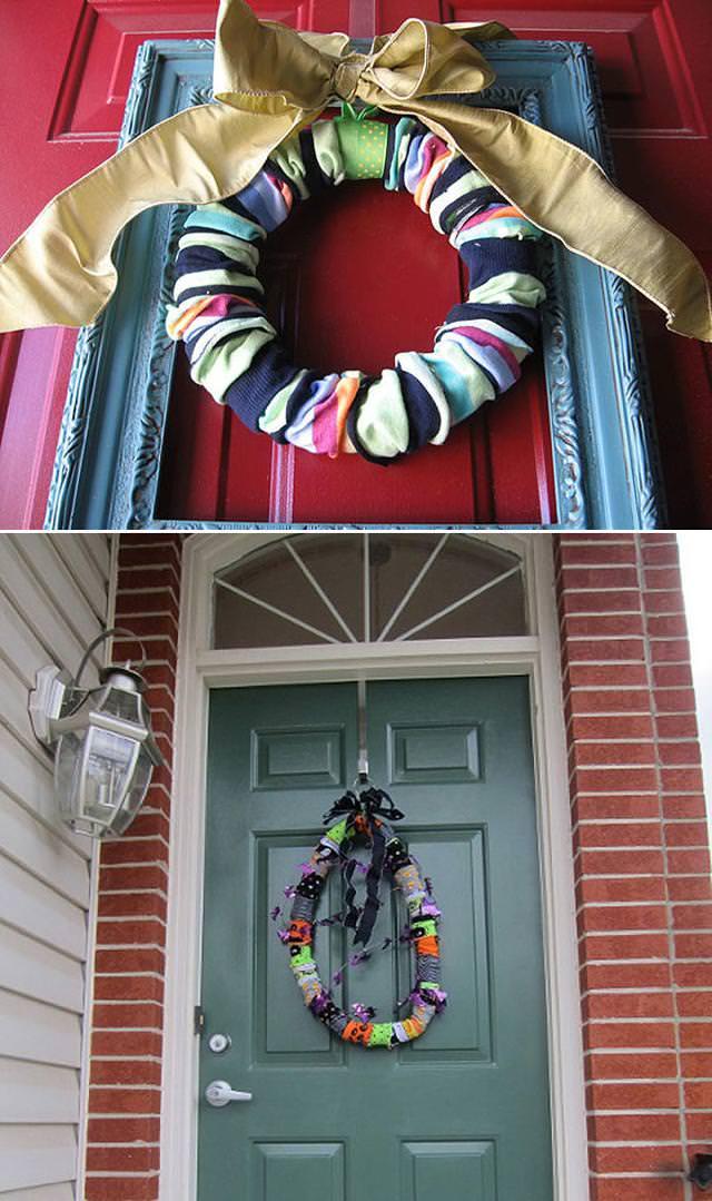 残念な画像:靴下や古布を使って作り上げた、クリスマスの飾り