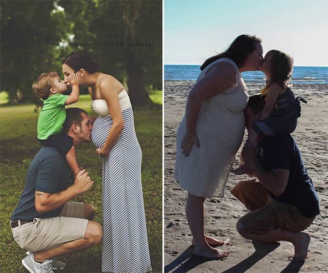 残念な画像:仲良し家族のキス写真