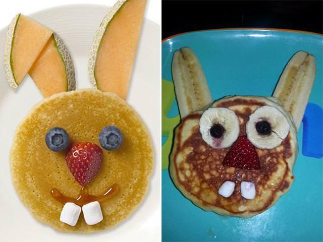 残念な画像:可愛いウサギさんのホットケーキになるはずが・・・