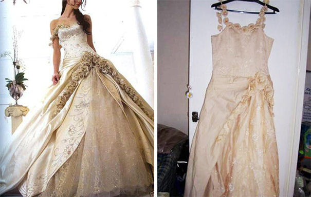 ウェディングドレスの失敗例:見本詐欺で安っぽい