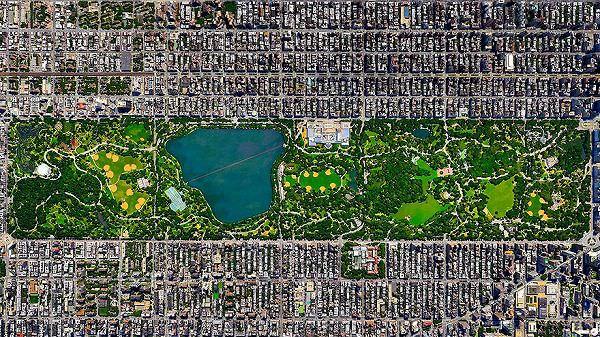ニューヨーク・セントラルパークの航空写真(衛星写真)