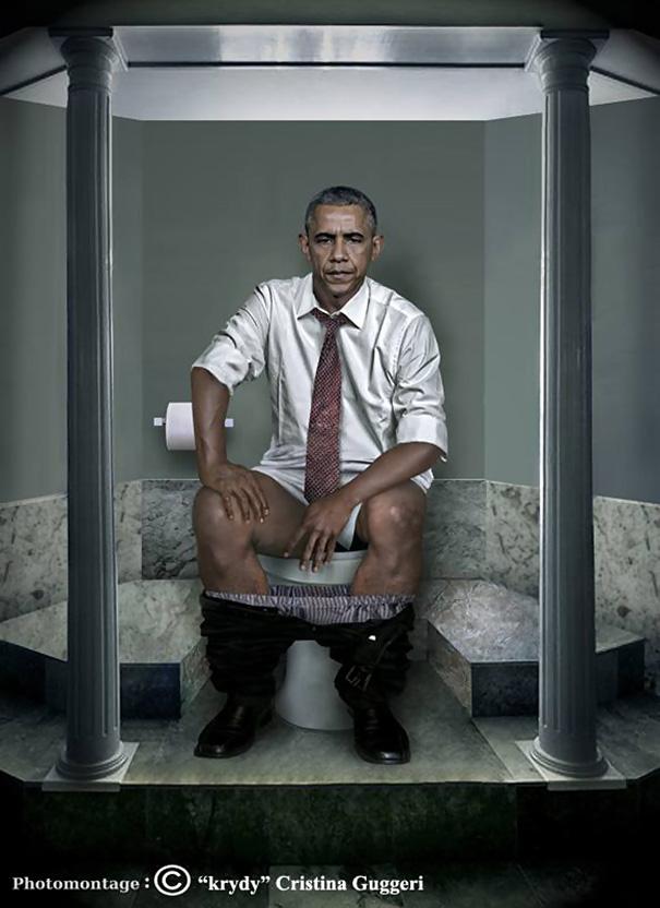 オバマ大統領のトイレ姿