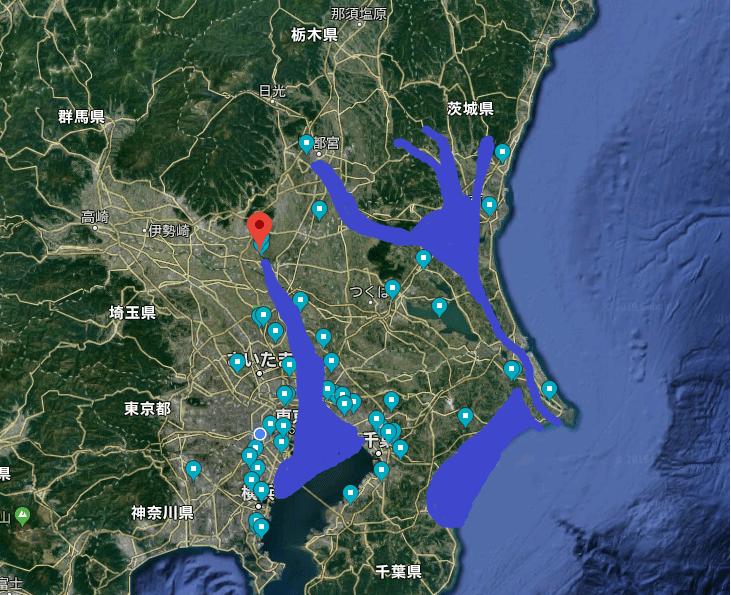 『縄文海進』とは?海のない栃木,群馬,埼玉まで海水が入り込んでた?海面水位シュミレーションとグーグルマップで地理歴史オンライン授業