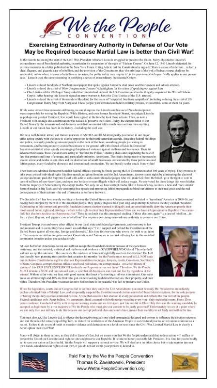 戒厳令をトランプ大統領へ求める声 - ワシントン・タイムズの広告